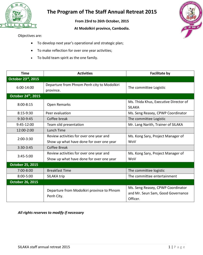 2015-10-20_The Program of The SILAKA Staff Annual Retreat 2015